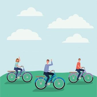 Женщина и мужчина мультфильмы, езда на велосипеде в парке векторный дизайн