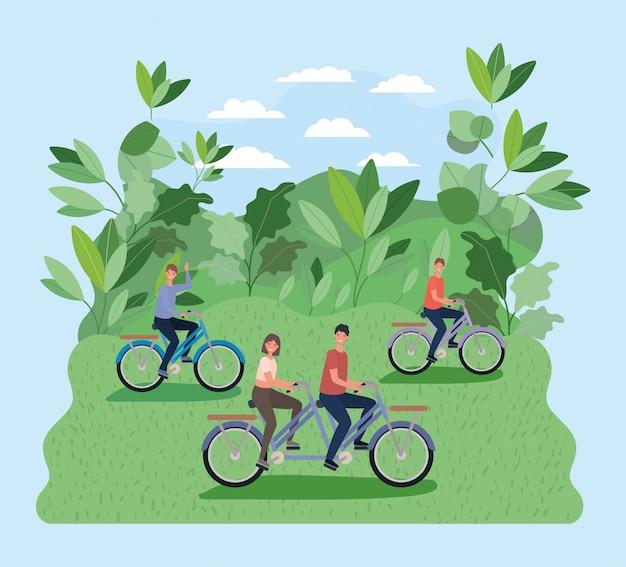 Мультяшные женщины и мужчины, езда на велосипеде в парке с векторным дизайном листьев