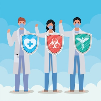 Covid 19 cov感染コロナ流行病の症状と医療テーマイラストの2019 ncovウイルス設計に対するシールドを備えた女性と男性の医師