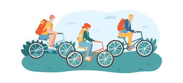 Друзья женщины и мужчины, езда на велосипедах в парке или лужайке.