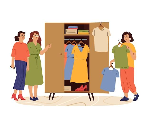 여자와 옷장입니다. 스타일링 소녀, 여성은 패션 의상을 시도합니다. 옷장에서 옷을 찾는 여성, 친구는 드레스 멋진 벡터 개념을 선택합니다. 일러스트 의류 및 의류 패션, 스커트 및 드레스