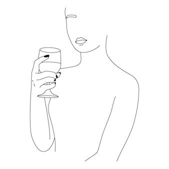 Женщина и бокал в минималистском стиле. векторная иллюстрация моды женских рук в модном линейном стиле. изобразительное искусство для плакатов, принт на футболках, татуировки, логотипы бара, сообщения в социальных сетях
