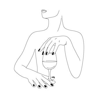 Женщина и бокал в стиле минимализма. векторная иллюстрация моды женских рук в модном линейном стиле. изобразительное искусство для плакатов, татуировок, логотипов магазинов и баров