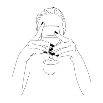 Женщина и бокал в стиле минимализма. векторная иллюстрация моды женских рук в модном стиле. штриховой рисунок для плакатов, татуировок, логотипов магазинов и баров, принт на футболках,