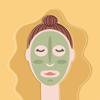 女性はマスク粘土を適用します