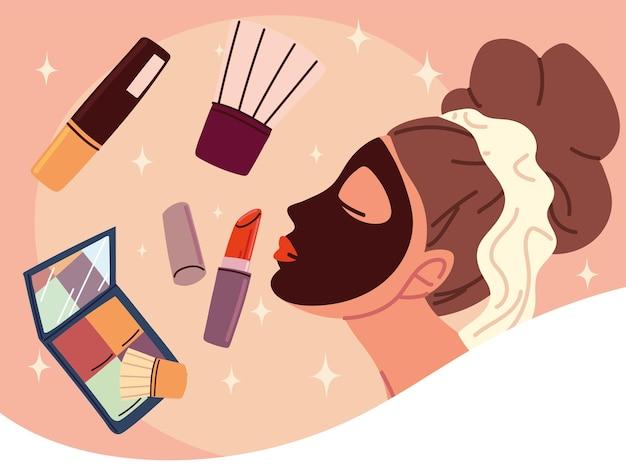 Woman applying beauty mask