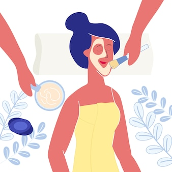 Woman applying clay mask flat vector illustration