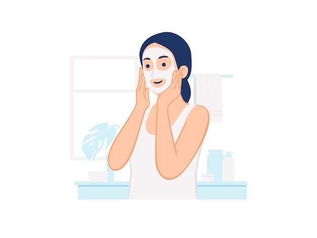 집 개념 그림에서 얼굴 미용 클렌징 화장품 마스크 페이셜 트리트먼트 스킨 케어를 적용하는 여자