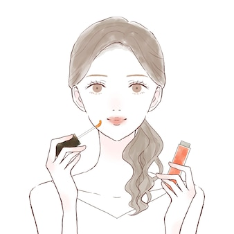 Woman applying lip gloss. on a white background.