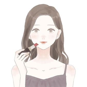 口紅を塗る女性。白い背景に。