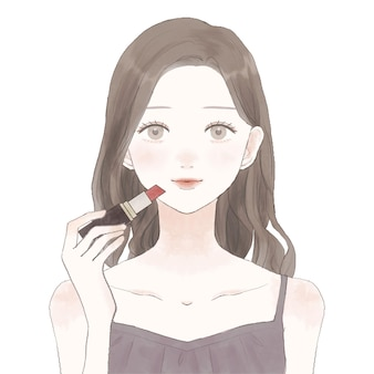 Woman applying lipstick. on a white background.