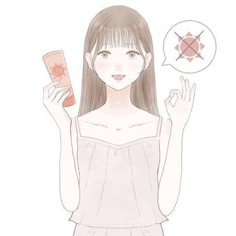 日焼けを防ぐために日焼け止めクリームを塗る女性。スキンケア画像。白い背景に。
