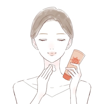 Woman applying sunscreen cream to neck. on a white background.