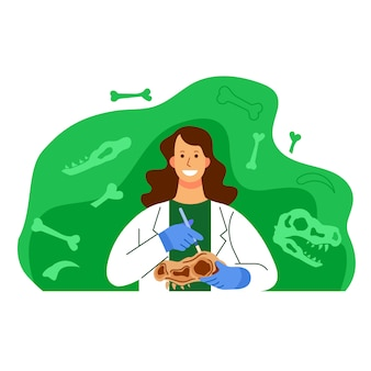 Woman archeology scientist character illustration