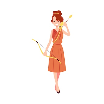 Woman or artemis greek goddess stands holding bow and arrow cartoon style
