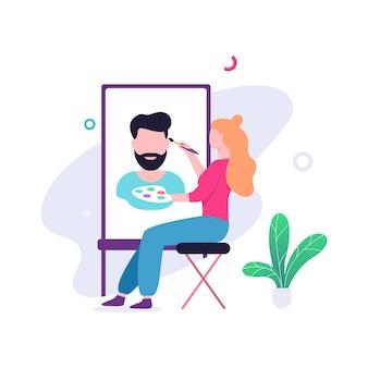 イーゼルに座って絵を描く女性アーティスト。