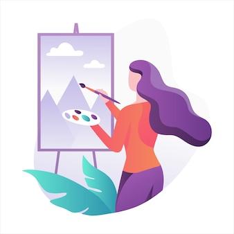 Художник женщина, стоящая у мольберта и живопись