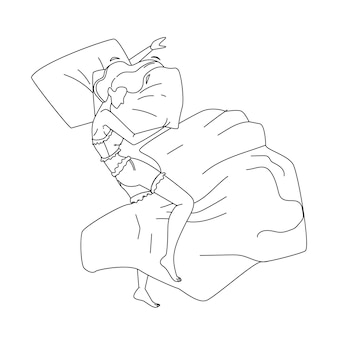 Woman asleep at night in comfortable bed black line pencil drawing vector. young girl lying and asleep on cozy orthopedic mattress and pillow. character lady resting and sleeping bedtime illustration