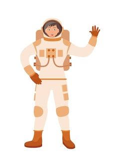 白い背景で隔離の女性宇宙飛行士ジェスチャー歓迎