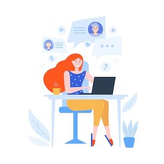 Женщина у себя дома сидит за ноутбуком и проводит время онлайн видео чат с друзьями. онлайн общение, встречи в интернете. иллюстрация для видеоконференции, удаленная работа, концепция технологии.