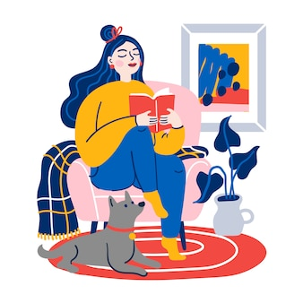 自宅で女性が椅子で本を読んでいます。面白い本を読んで、または勉強して椅子に座っている女の子。家で時間を過ごす若い女性。フラット漫画イラスト。