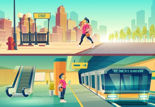 Женщина у станции метро.