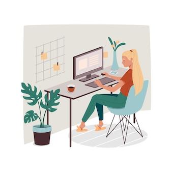 Женщина в офисе или дома, работающая с компьютером. девушка выполняет удаленную работу с помощью сотрудника пк или женщины.