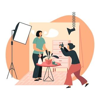 写真撮影の女性
