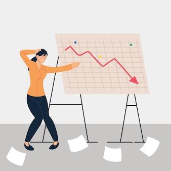 減少グラフ、金融危機のイラストデザインの前に立ってプレゼンテーションで女性