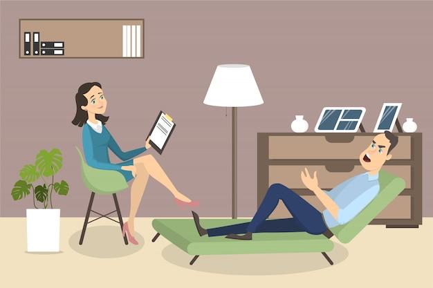 Женщина у психолога. сеанс психотерапии с врачом и пациентом.