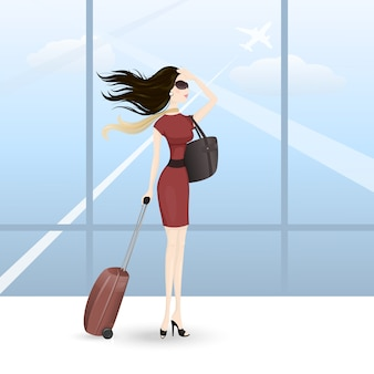 空港の女性
