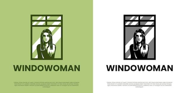 창 로고 디자인에 여자