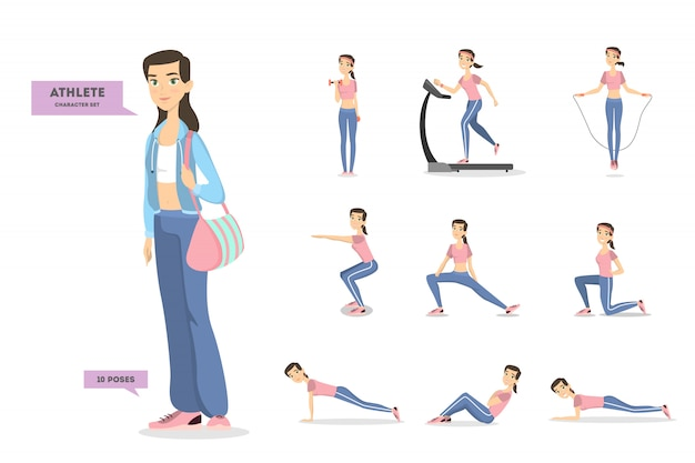 Woman athlete set. character in sportswear doing exercises.
