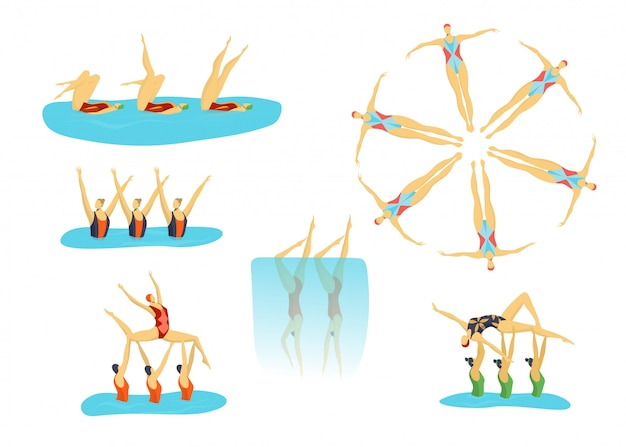 Woman athletes synchronised swimming in group, swimmers girls sport set of isolated  illustrations.