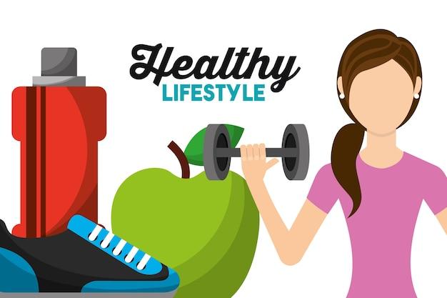여자 운동 리프팅 바벨 애플 운동화와 병 물 건강 한 라이프 스타일