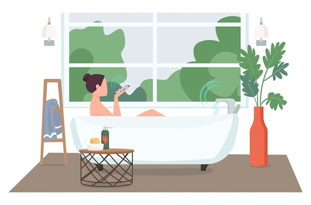 Woman in automated bathroom flat color faceless character. young lady with smartphone taking bath. smart home technology control cartoon illustration for web graphic design and animation