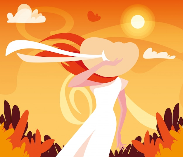 Woman in autumn vector design