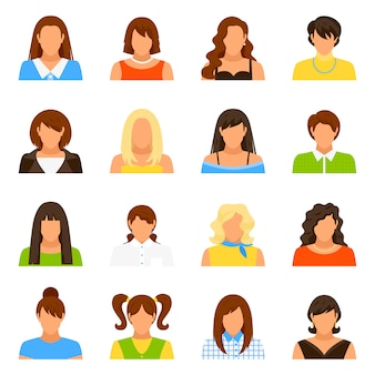 Woman avatar icons set