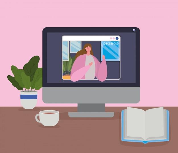ビデオチャットでコンピューター上の女性アバター