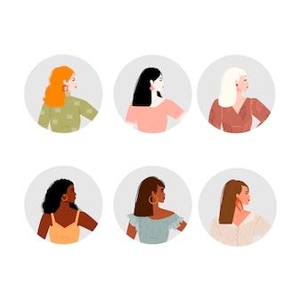 女性アバターセット。さまざまな国籍の6人の美しい少女の肖像画