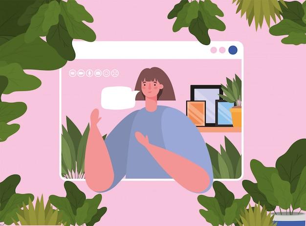 ビデオチャットデザインのウェブサイト上のバブルと女性アバター