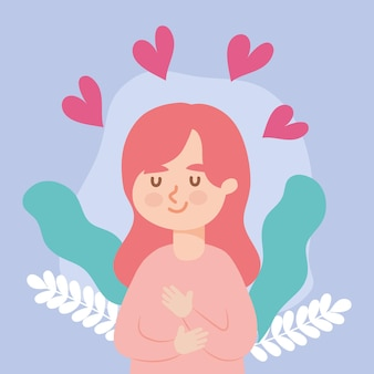 Woman avatar with hearts girl female person