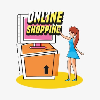 Woman avatar with online shopping icon pop art style