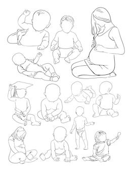 Woman and baby line art