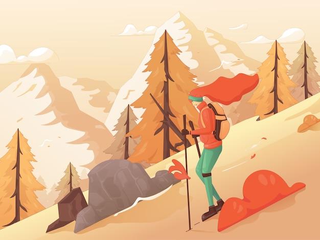 Woman backpacker enjoy view autumn vector flat illustration