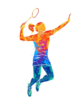 Woman badminton player in watercolor concept