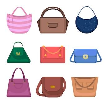 女性バッグアイコンセット。白い背景で隔離のさまざまなファッションのハンドバッグ。女性のハンドバッグコレクションの夏のアクセサリー。