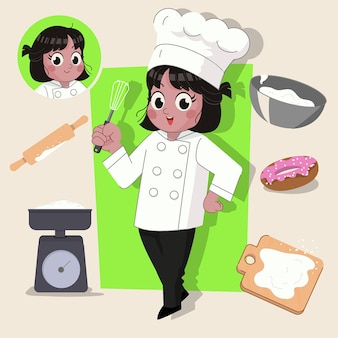 Woman baker cute 2d character ready for animation complete with job tools