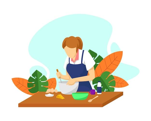 야외에서 식사를 굽고 있는 여자