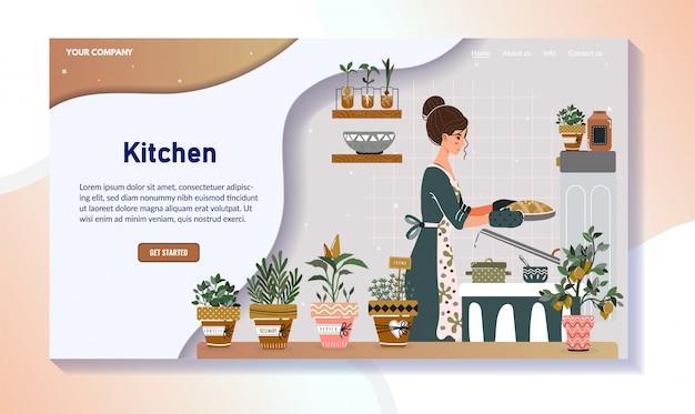 Женщина, выпечки пирог на кухне, домашняя кухня дизайн сайта, векторная иллюстрация